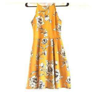 Yellow & white, sleeveless, high neck dress